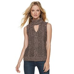 Women's Jennifer Lopez Marled Sleeveless Turtleneck Sweater