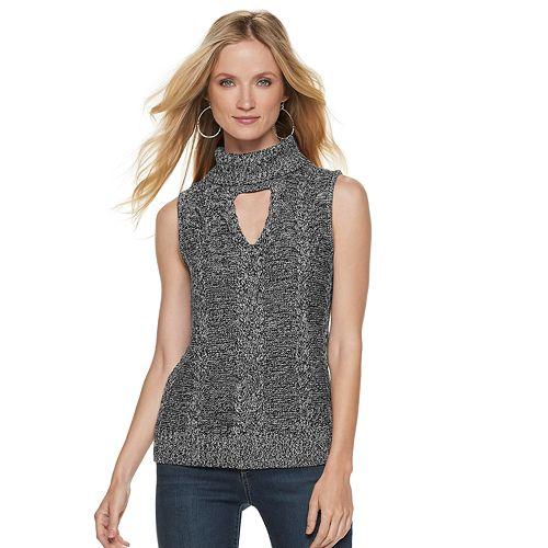 01fc3ae31e27 Women's Jennifer Lopez Marled Sleeveless Turtleneck Sweater