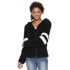 Juniors' SO® Varsity Striped Sherpa Hooded Jacket