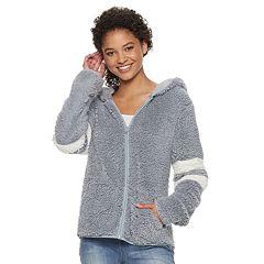 Juniors' SO® Varsity Striped Sherpa Hooded Jacket