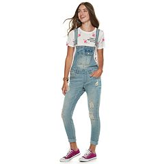 Juniors' Almost Famous Mid-Rise Destructed Rip & Repair Denim Overalls