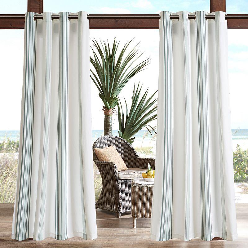 Madison Park 1-Panel Bolinas Stripe Outdoor Curtains, Grey, 54X95