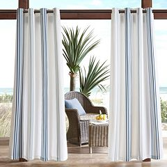 Madison Park 1-Panel Bolinas Stripe Outdoor Curtain