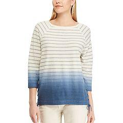 Women's Chaps Dip-Dye Striped Lace-Up Hem Top