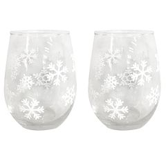 St. Nicholas Square® Yuletide Snowflake 2-piece Stemless Wine Glass Set