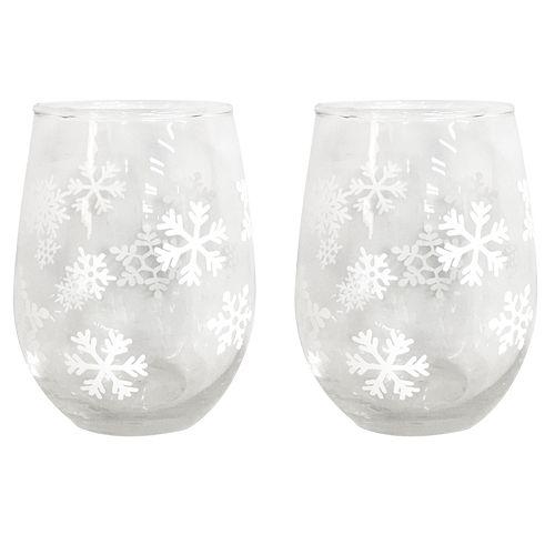 St. Nicholas Square® Yuletide Snowflake 2-piece Stemless Wine Glass Set