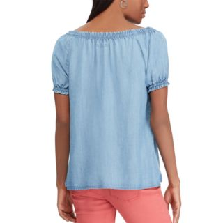 Women's Chaps Off-the-Shoulder Chambray Top