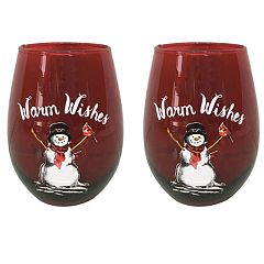 St. Nicholas Square® Yuletide Red 2-piece Stemless Wine Glass Set