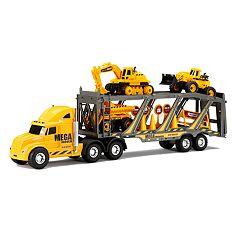 New Bright 22' Free Wheel Mega Construction Hauler Set