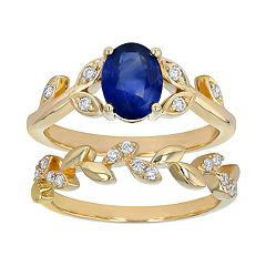14k Yellow Gold Sapphire & 1/6 Carat T.W. Diamond Leaf Engagement Ring Set