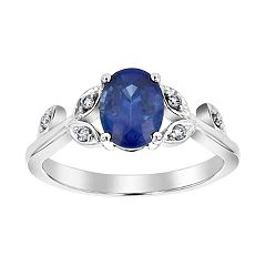 14k White Gold Sapphire & 1/5 Carat T.W. Diamond Engagement Ring Set