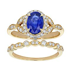 14k Yellow Gold Sapphire & 3/8 Carat T.W. Diamond Halo Engagement Ring Set