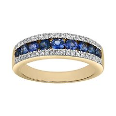 14k Yellow Gold Sapphire & 1/5 Carat T.W. Diamond Wedding Ring