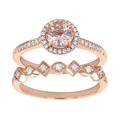 14k Rose Gold Morganite & 1/4 Carat T.W. Diamond Halo Engagement Ring Set
