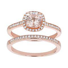 14k Rose Gold Morganite & 1/4 Carat T.W. Diamond Halo Engagement Ring Set