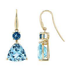 14k Gold Swiss & London Blue Topaz Drop Earrings
