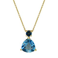 14k Gold London & Swiss Blue Topaz Pendant