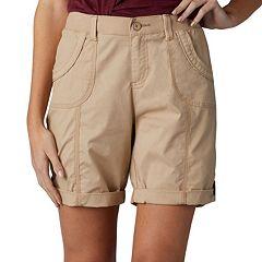 Petite Lee Melody Comfort Waist Poplin Roll-Cuff Bermuda Shorts