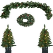 St. Nicholas Square® Indoor / Outdoor Pre-Lit Artificial Christmas Tree, Wreath & Garland 4-piece Set