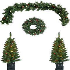 St. Nicholas Square® Indoor / Outdoor Pre-Lit Artificial Christmas Tree, Wreath & Garland 4-piece Set