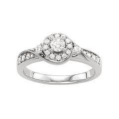 10k White Gold 1/2 Carat T.W. Diamond Halo Engagement Ring