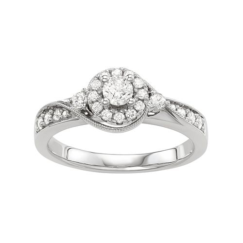 Diamond Round Halo Engagement Ring in 10k White Gold ( 1/2 ct. T.W.)