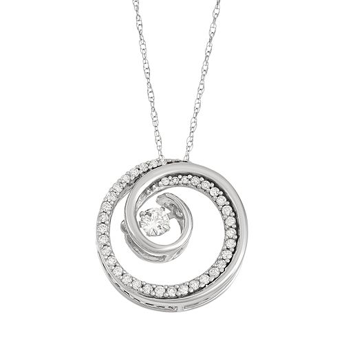 14k White Gold 1/4 Carat T.W. Diamond Pendant Necklace