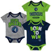 Baby Minnesota Timberwolves Little Fan 3-Piece Bodysuit Set