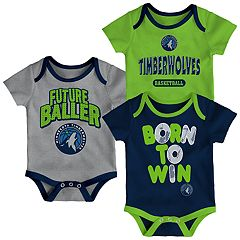 Baby Minnesota Timberwolves Little Fan 3-Piece Bodysuit Set