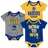 Baby Golden State Warriors Little Fan 3-Piece Bodysuit Set