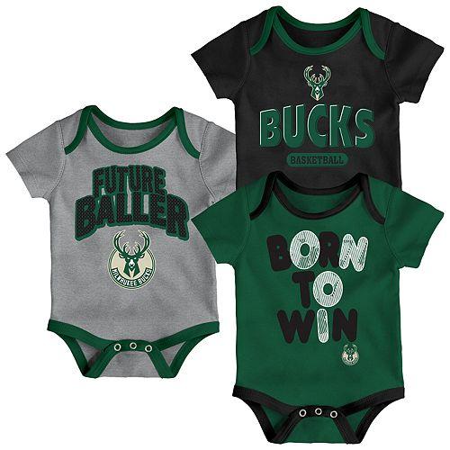 Baby Milwaukee Bucks Little Fan 3-Piece Bodysuit Set