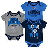 Baby Oklahoma City Thunder Little Fan 3-Piece Bodysuit Set