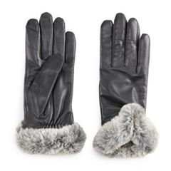 Women's Apt. 9® Leather Faux-Fur Tech Gloves