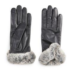 Women's Apt. 9® Leather Faux-Fur Tech Gloves