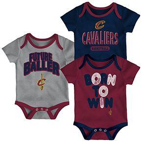 Baby Cleveland Cavaliers Little Fan 3-Piece Bodysuit Set