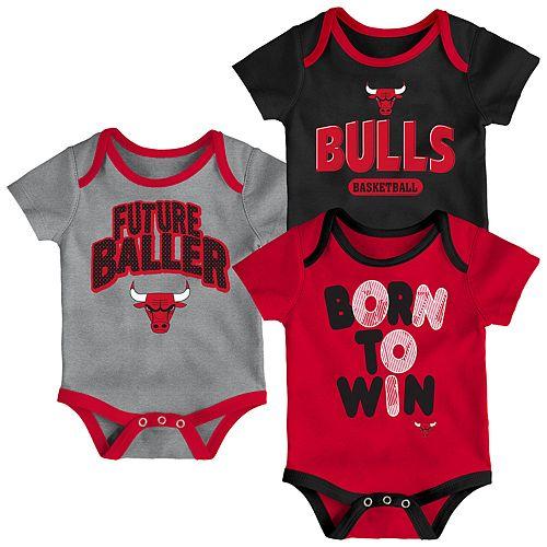 Baby Chicago Bulls Little Fan 3-Piece Bodysuit Set