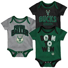 Baby Milwaukee Bucks Little Fan 3-Piece Bodysuit Set