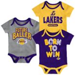 Baby Los Angeles Lakers Little Fan 3-Piece Bodysuit Set
