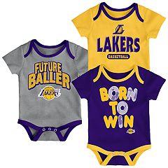 Baby Los Angeles Lakers Little Fan 3-Piece Bodysuit Set