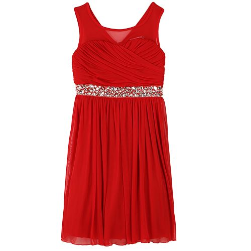 Girls 7-16 Illusion Sweetheart Dress with Jeweled Belt