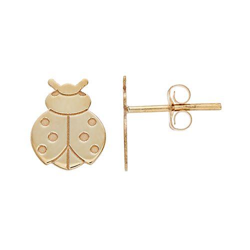 10k Gold Ladybug Stud Earrings