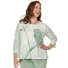 Plus Size Alfred Dunner Studio Spliced Floral Embroidered Sweatshirt