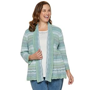 Plus Size Alfred Dunner Studio Space-Dye Mock-Layer Sweater