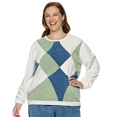 Plus Size Alfred Dunner Studio Patchwork Chenille Sweater