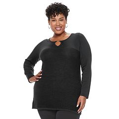 Plus Size Dana Buchman Keyhole Sweater