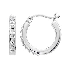 Platinum Over Silver Diamond Mystique Hoop Earrings