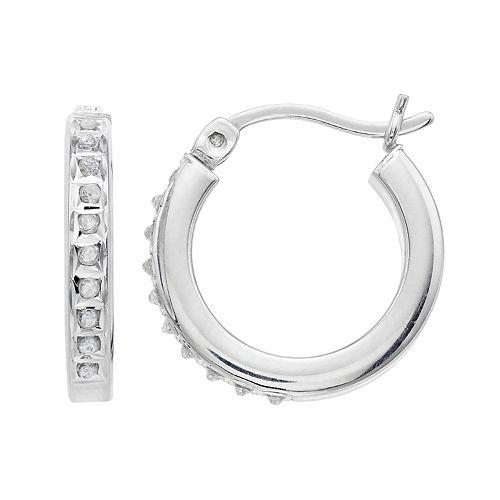 Platinum Over Silver Diamond Mystique Hoop Earrings