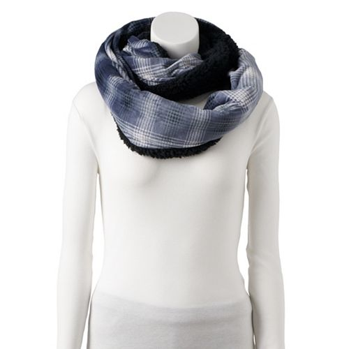 Women's Cuddl Duds Plaid Velour & Faux Sherpa Infinity Scarf
