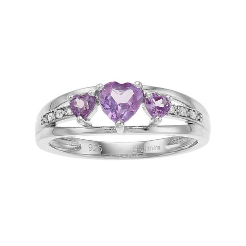 Sterling Silver Lab-Created Alexandrite Diamond Accent 3-Stone Heart Ring