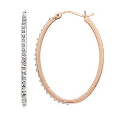 18k Rose Gold Over Silver Diamond Mystique Oval Hoop Earrings